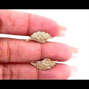 14kt gold Angel wings Diamond earrings